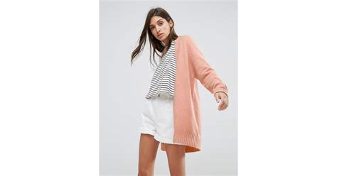 Asos Chunky Knit Cardigan In Wool Mix In Pink