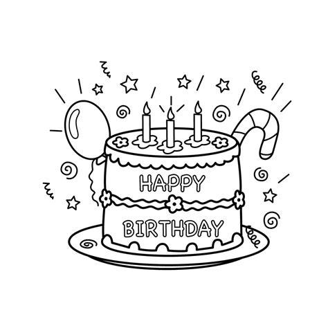 Kleurplaat Gebakjes by Leuk Voor Happy Birthday Taart
