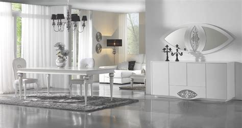 luxury high gloss white silver dining room set