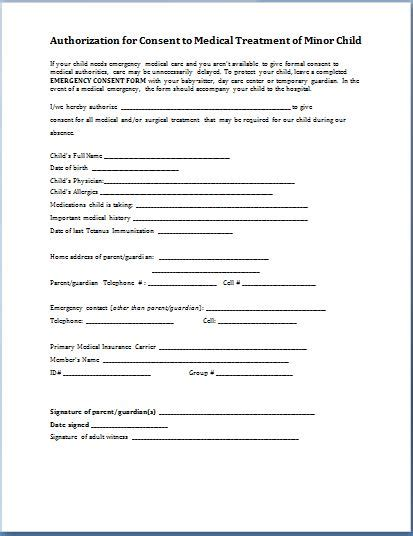 Medical Authorization Release Form Minors Pictures To Pin