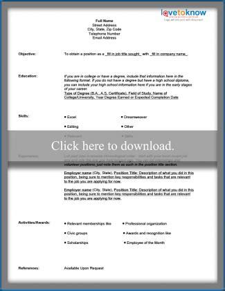 Chronological Resume Wiki by Free Blank Resume Form Lovetoknow