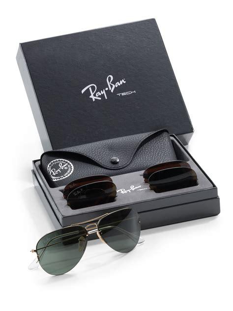 ray ban interchangeable lens aviator sunglasses  black
