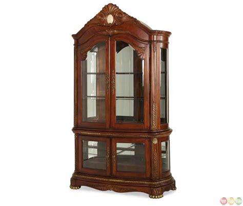 Coaster Home Furnishings Curio Cabinet Walnut by Michael Amini Cortina Traditional Honey Walnut Curio