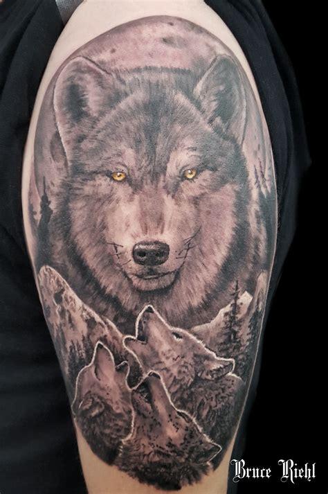 black  grey wolf shoulder tattoo  bruce riehl