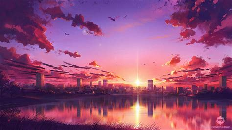 aesthetic anime sunset wallpapers