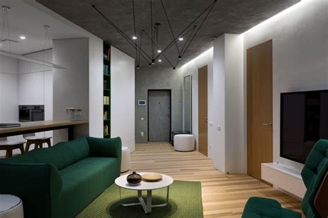 minimalist apartment decorated  shades  forest green