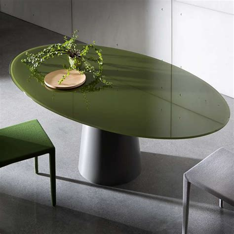 table ovale design en verre totem sovet 174 4 pieds