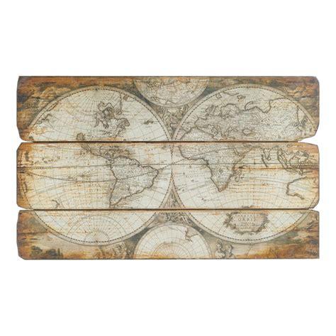 panneau deco mural en bois    cm autour du monde maisons du monde