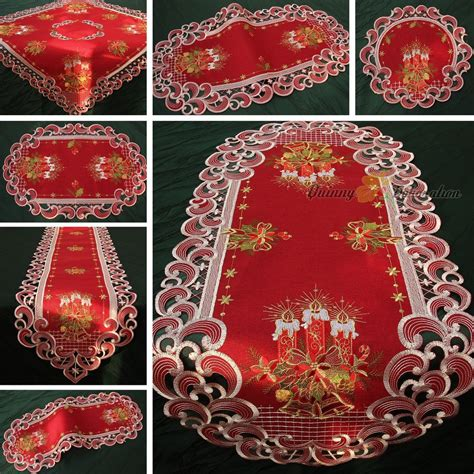 dark red embroidered christmas table cloth table runner