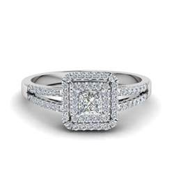 princess halo engagement rings princess cut pave halo engagement ring in 14k white gold fascinating