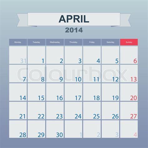 Calendar To Schedule Monthly April 2014  Stock Vector