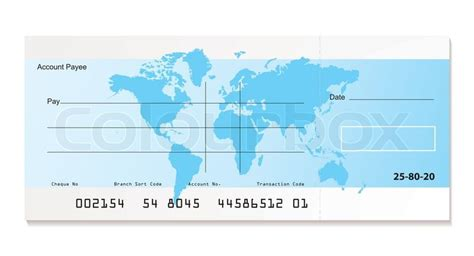 illustrated bank cheque  world map stock vector