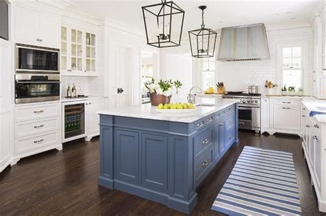 white  blue kitchen features white cabinets painted benjamin moore white dove paired
