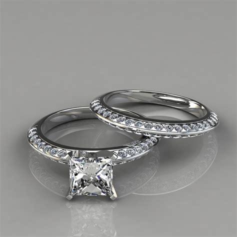 Knife Edge Engagement Ring & Wedding Band Bridal Set