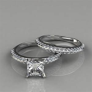 knife edge engagement ring wedding band bridal set With engagement wedding rings
