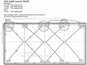 Caf U00e9 Lights Layout Diagram For A 40x80 Rope And Pole Tent