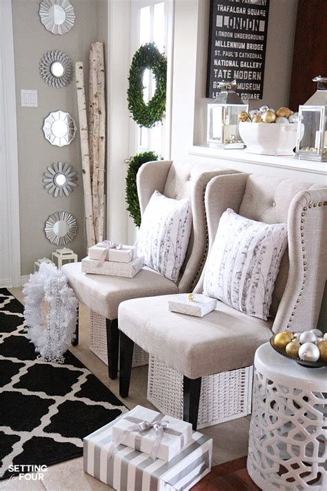 elegant  neutral christmas foyer setting