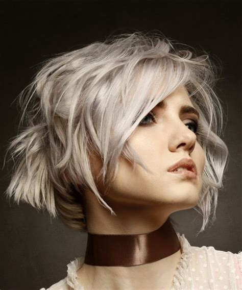 Short Wavy Casual Bob Hairstyle With Side Swept Bangs