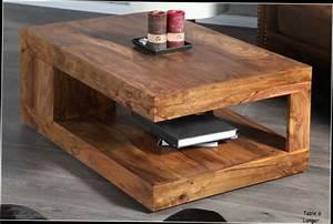 Table De Salon Bois : table basse de salon en bois massif table basse carree bois maisonjoffrois ~ Teatrodelosmanantiales.com Idées de Décoration