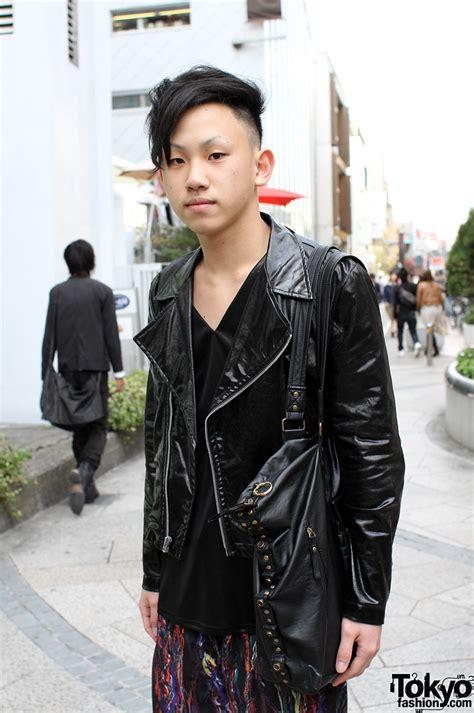 cool japanese guy  motorcycle jacket leggings