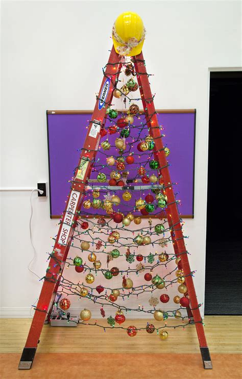 how to make a ladder christmas tree facilities steps up its spirit with ladder