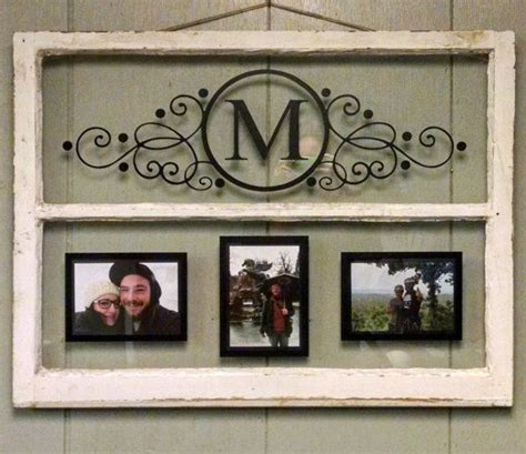 vintage  pane window personalized   family letter  window projects frame wall