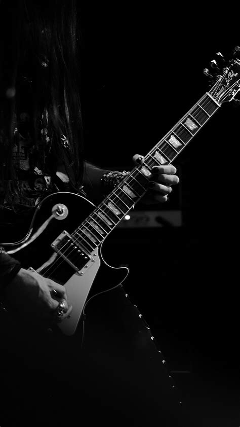 Download wallpaper 1080x1920 guitar guitarist bw