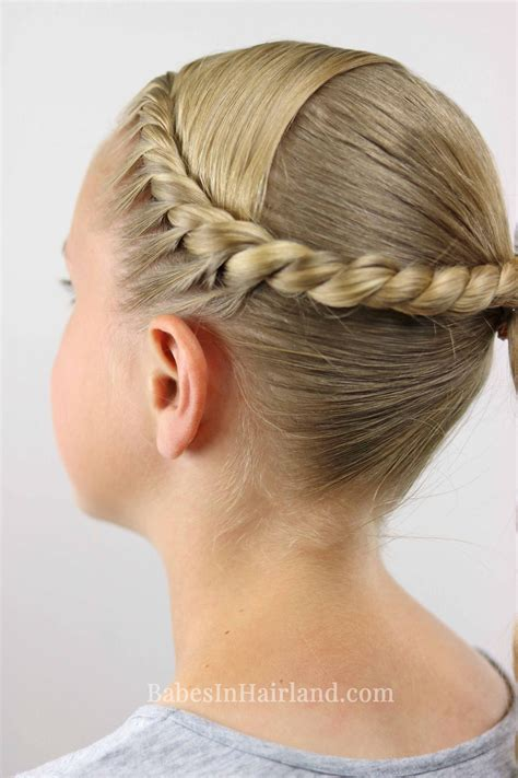 twisted combo hairstyle  cute school sports hairstyle