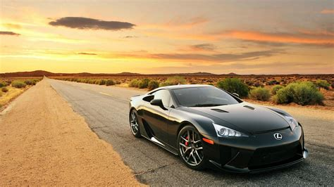 Lexus Lfa On Desert Highway Hd Desktop Wallpaper