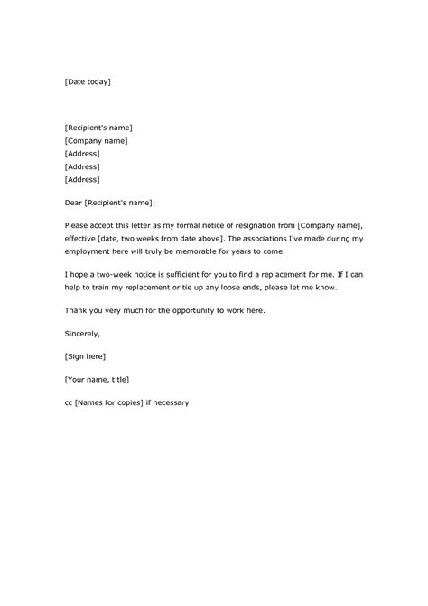 two weeks notice letter basic two week notice resignation letter sles 2016 slebusinessresume