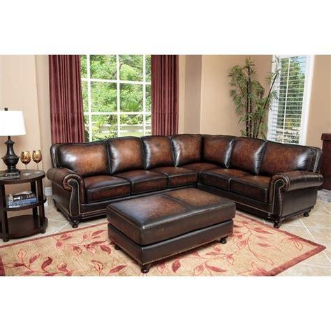 abbyson living leather sofa abbyson living nizza woodtrim leather sofa set brown