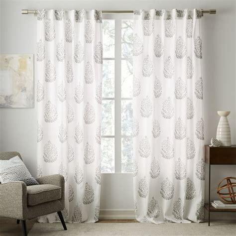 west elm linen curtains belgian flax linen medallion printed curtain west elm