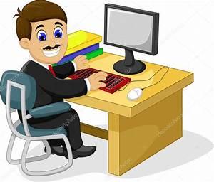dibujos animados divertido empresario trabajando en su escritorio de oficina Vector de stock