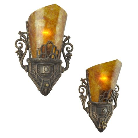 antique wall sconces deco style pair of antique original restored wall