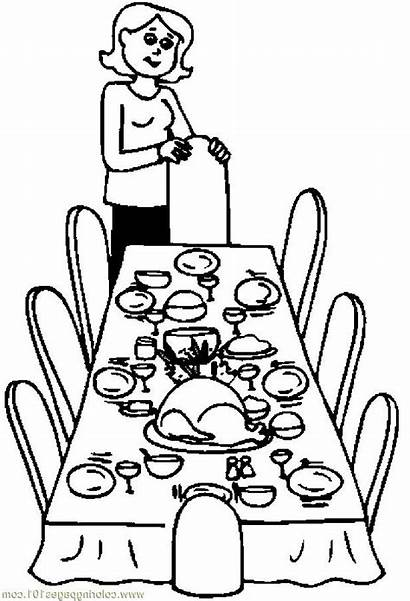 Table Dinner Thanksgiving Clipart Christmas Dining Drawing