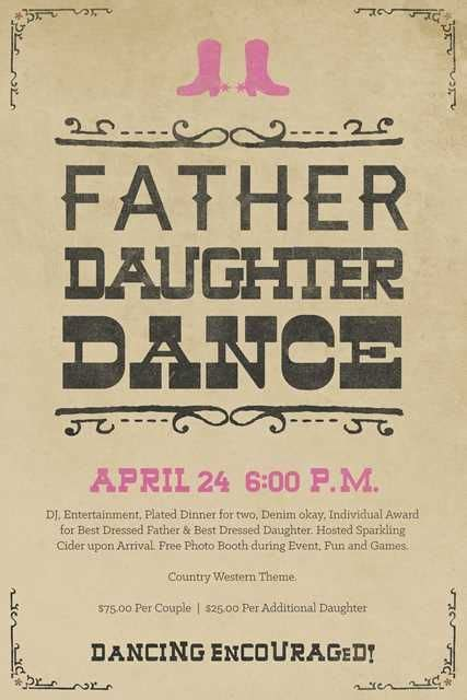 father daughter dance flyer poster template  oregon
