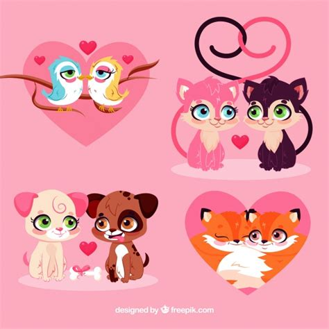 Cat vector set free vector. Flat valentine's day animal couples collection   Free Vector