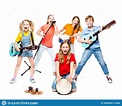 Children Group Playing On Music Instruments, Kids Musical ...