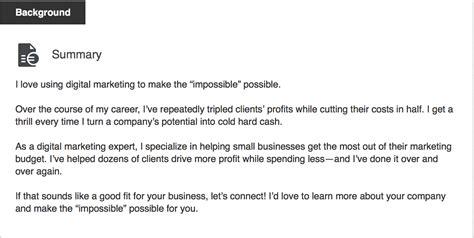 Linkedin Summary Template Use Your Linkedin Profile To Market Your Company Templates