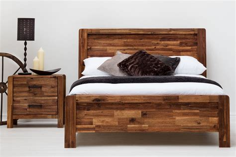 chester acacia wooden bed frame rustic java doubleking