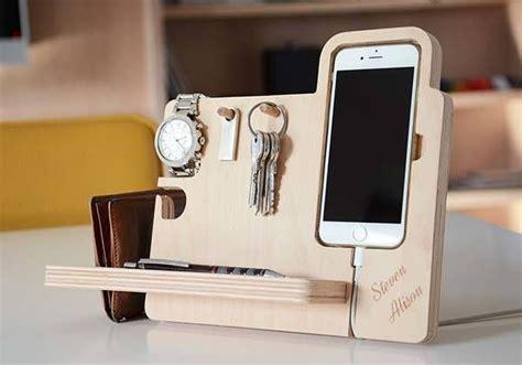 handmade desk organizer boasts integrated  stand