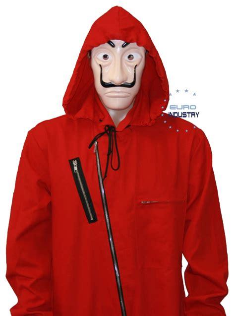 original la casa de papel red costume suit  hood
