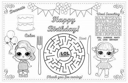 Lol Coloring Birthday Activity Printable Activities Placemat