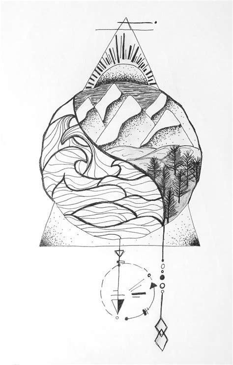 sea and land nautical natural ying yang geometric zentangle tattoo design illustration | tattoos