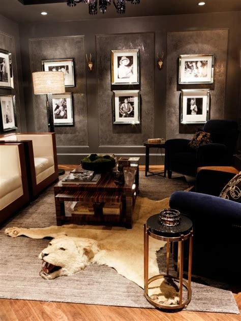 art deco living room  animal rug  club chairs hgtv