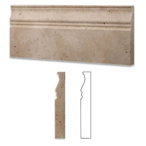 travertine molding ivory light travertine honed 5 x 12 baseboard trim molding 4 sle home improvement store