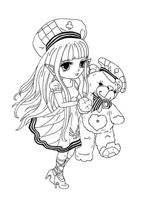kostenloses ausmalbild manga maedchen mit teddybaer gratis