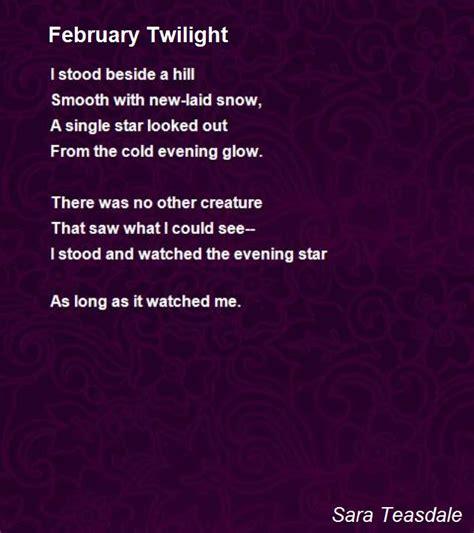 february twilight poem  sara teasdale poem hunter comments