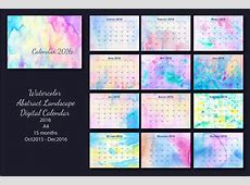 2016 Monthly Calendar Watercolor A4 ~ Stationery Templates