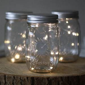 Mason, Jar, With, Fairy, Lights, By, The, Wedding, Of, My, Dreams